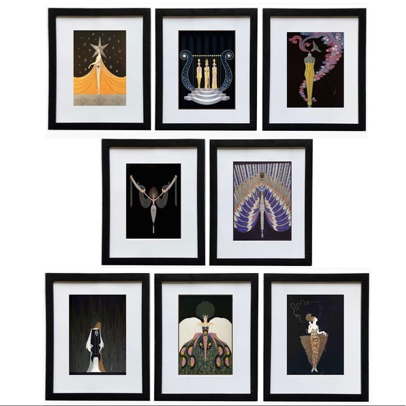 Set of 8 Erte framed Prints 8x10